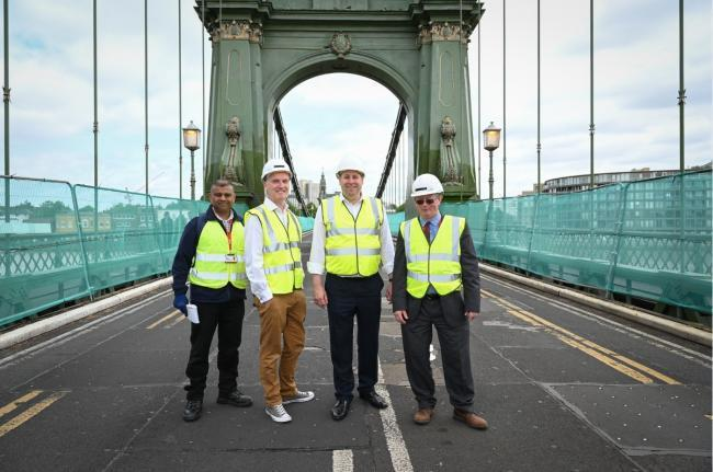 Councillor Gareth Roberts and Councillor Stephen Cowan on Hammersmith Bridge