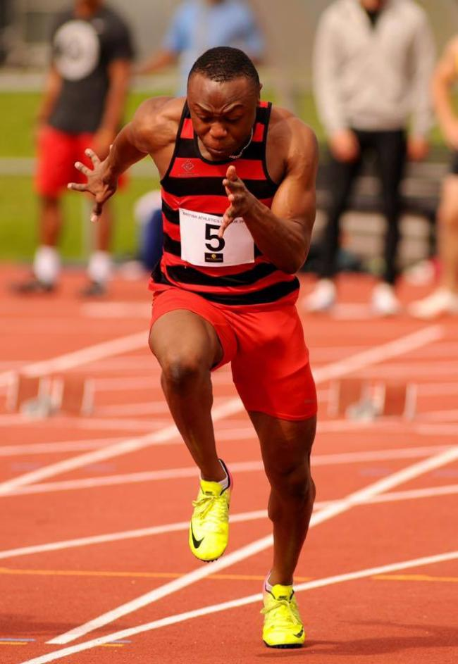 Marvin Popoola, winner of The A 100m, close second in 200m and a storming final leg to win 4 x 100m relay at Kingsmeadow.