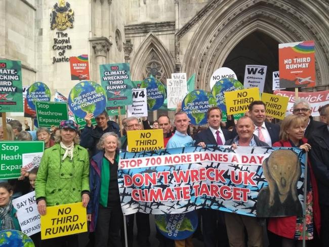 Cllr Roberts joins council Leaders and local activists outside Court this morning.