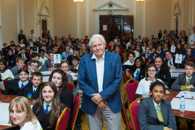 David Attenborough speaking to schoolchildren at the Youth Climate Change Summit in Richmond. Credit - Richmond Council. Free for use by partners of the BBC news wire service.