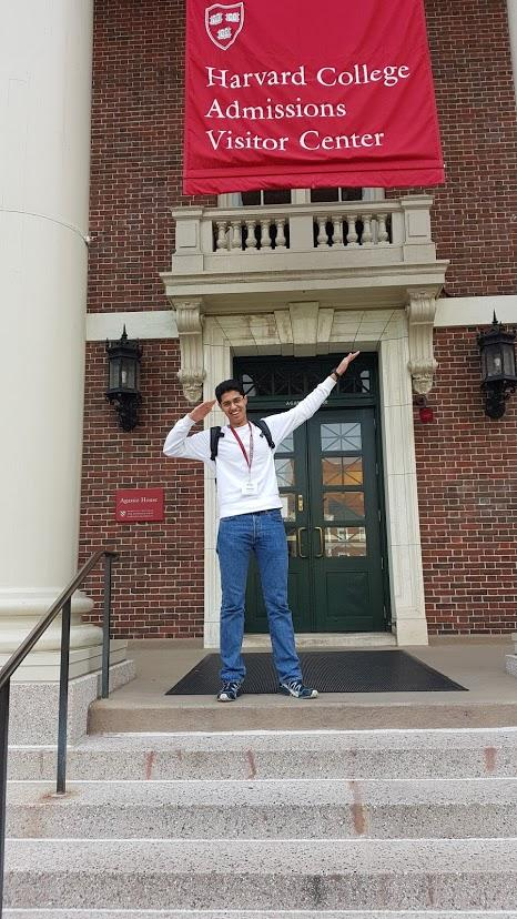 Outside the Harvard Admissions Visitor Center