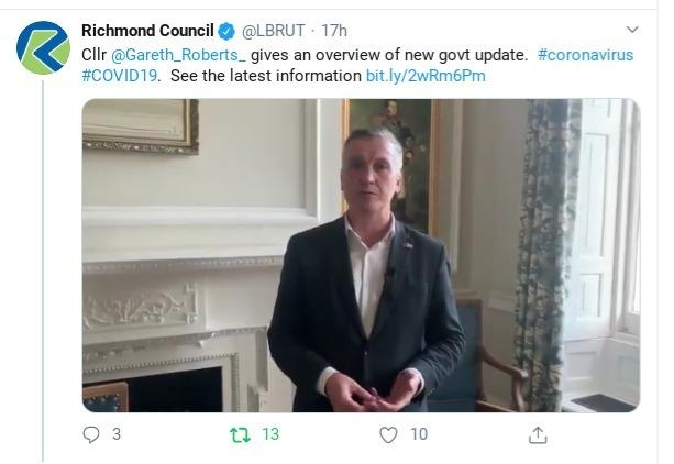 Screenshot Gareth Roberts twitter video. Credit - Richmond Council