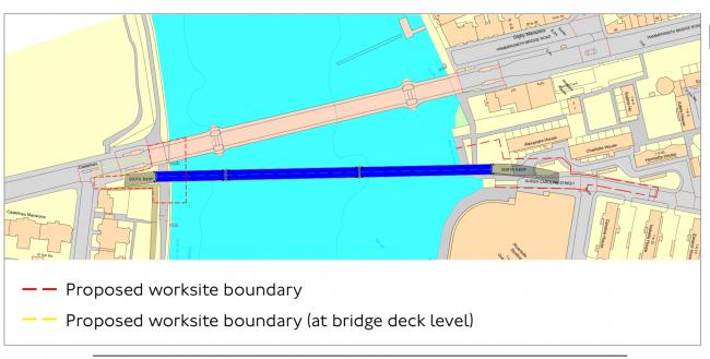 Temporary Bridge Proposal Location by TFL