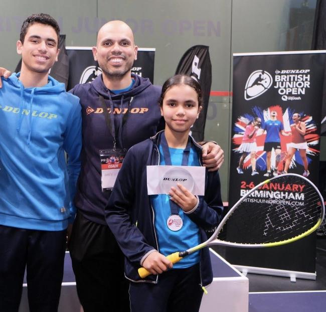 AbdAllah Eissa is coached by his father, Ahmed, while his sister, Mariam, is a British and English champion