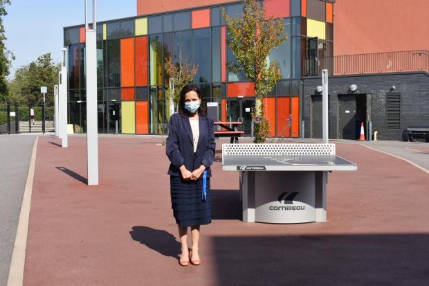 Richmond and Twickenham Times: Head Teacher Ms Ruse, in Twickenham School playground