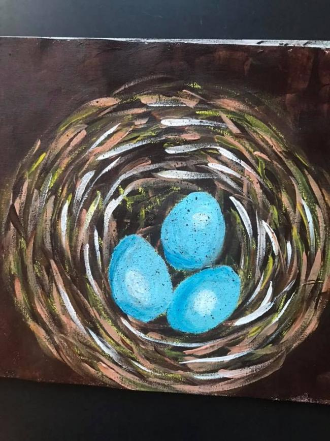 Painting of a nest by an adult in Art & Soul's online workshop
