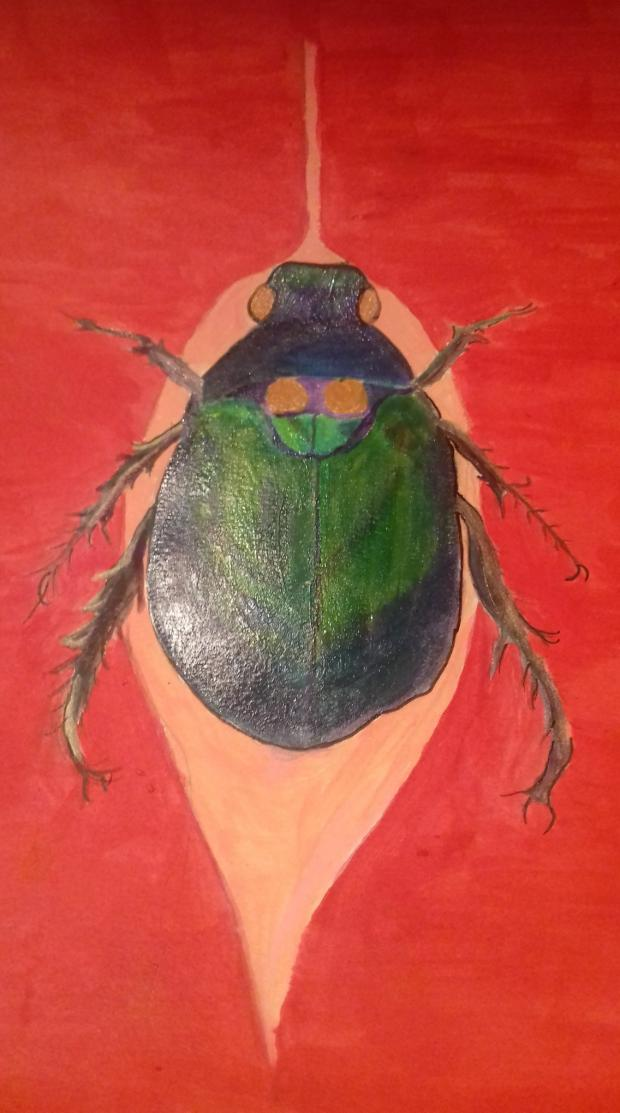 Richmond and Twickenham Times: Painting of a beetle by an adult in Art & Soul's online workshop
