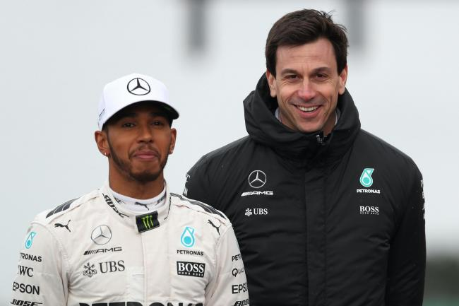 Lewis Hamilton, left, and Toto Wolff