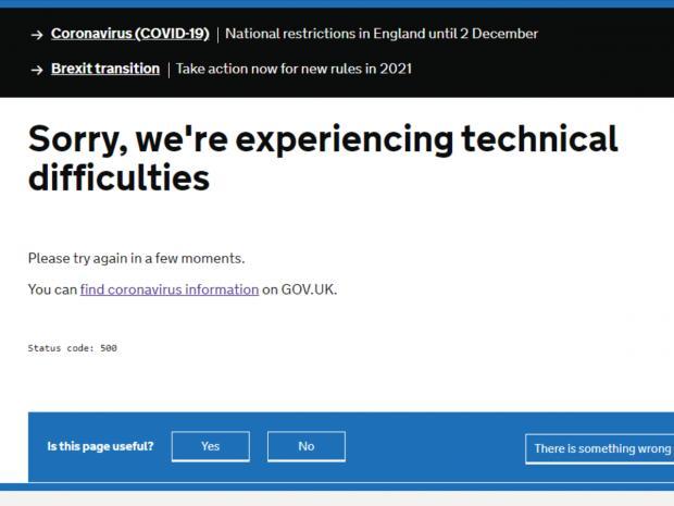 Richmond and Twickenham Times: Screenshot of government website (November 26).