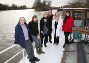 Down by the river: Jill Townsend, Lorraine Hudson, Susan Penhaligon, Coun Andrew Dakers, Valerie Austin and Pauline Hill are fighting increased mooring fees