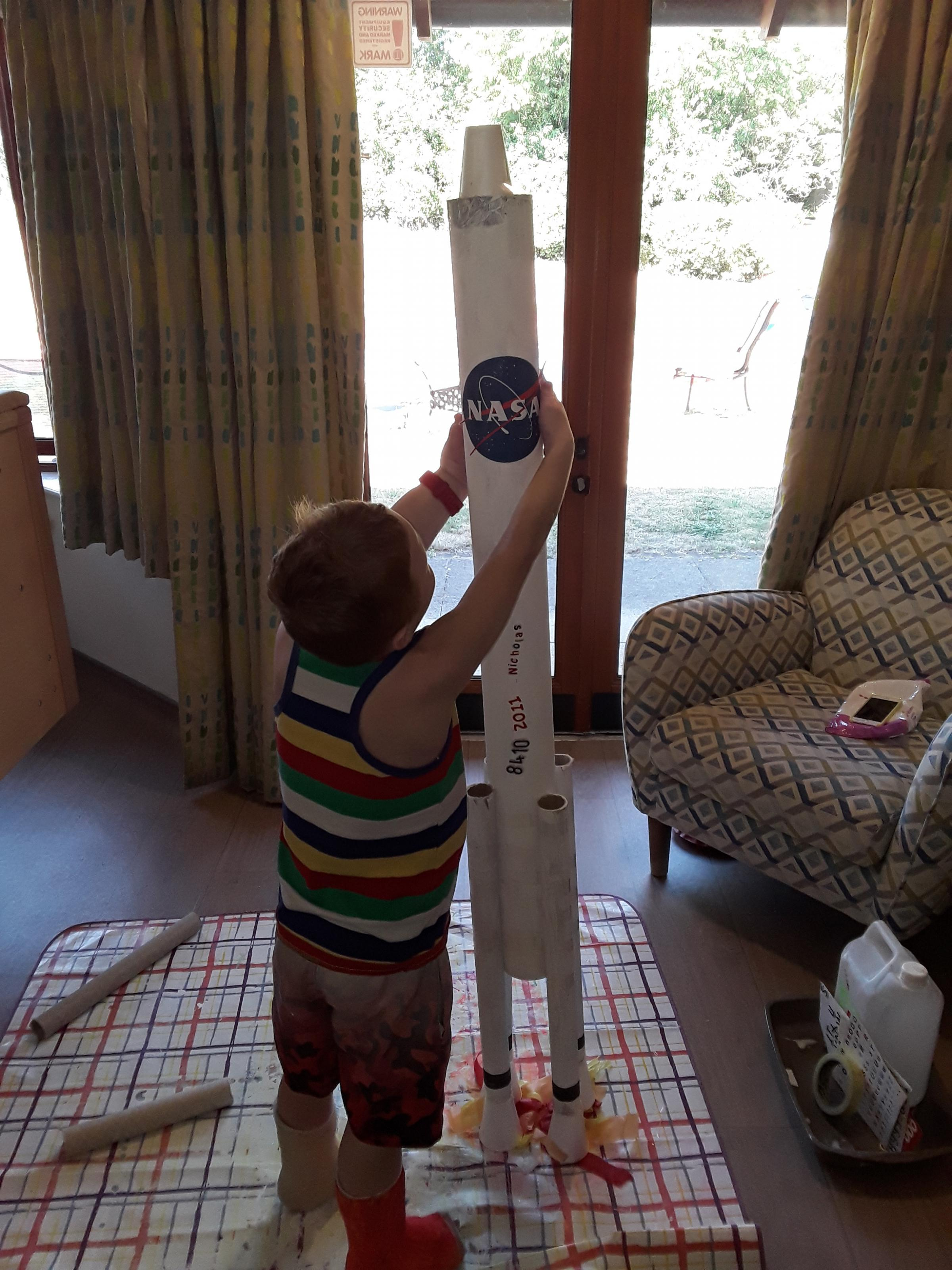 Nicholas building his rocket in the hospice  -  - Children's Hospice launches virtual 'Space Race'
