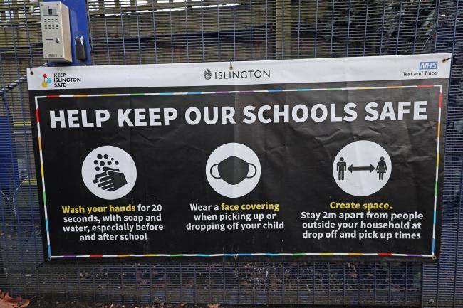 Coronavirus safety sign outside a school