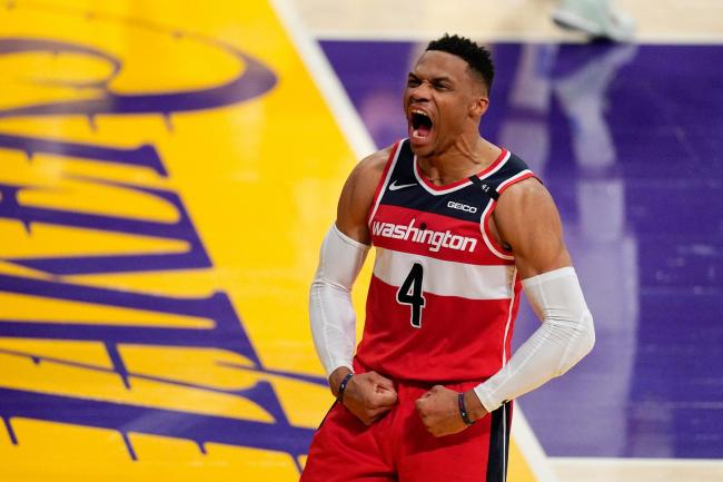 Washington Wizards guard Russell Westbrook celebrates against the Los Angeles Lakers