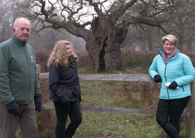 Richmond Park Manager Simon Richards & Royal Parks Arboriculturist Gillian Jonusas are joined by Clare Balding for the film. Image via Royal Parks