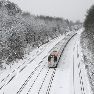 Richmond and Twickenham Times: More than 100 rail passengers have been stranded after their train became stuck in snow (stock image)