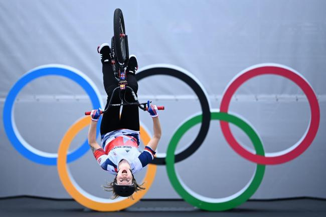 Great Britain's Charlotte Worthington during the Women's Cycling BMX Freestyle