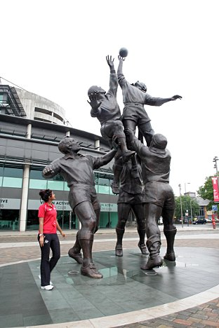 Bronze: Gerald Laing's sculpture reflects the five core values of the game of rugby union