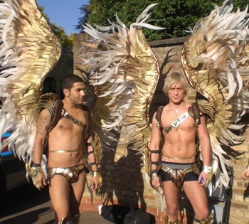 Scantily-clad angels protest Pope visit