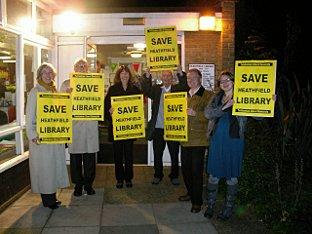 Protest: A Liberal Democrat protest was held outside Heathfield library