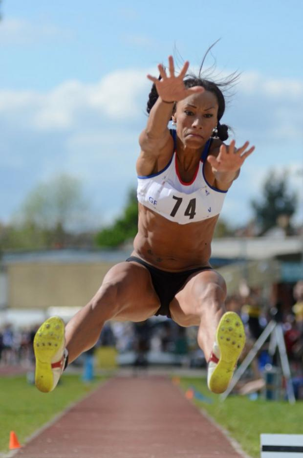 Flying form: Jade Johnson jumps to Surrey County Championship success