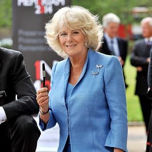 The Duchess of Cornwall applies a paintbrush dipped in SmartWater to the base of the Royal Artillery Memorial