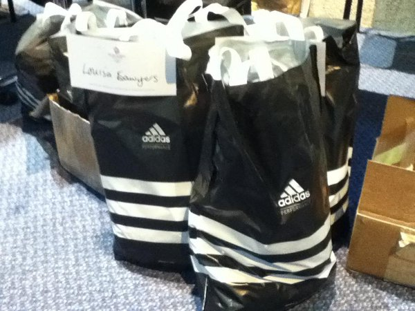 Kit bag: The Team GB sprint canoe squad's Olympic kit, one bag bearing Louisa Sawers' name,