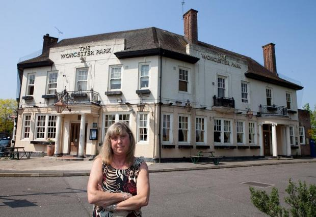 June Fraser outside the Worcester Park Tavern
