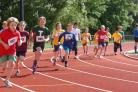 Future sporting stars: Primary school students test out St Mary's University's world class running track