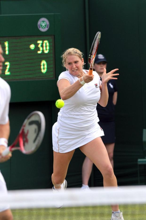 Fresh start: New Malden's Mel South in action at Wimbledon last week, where she reached the third round of the mixed doubles