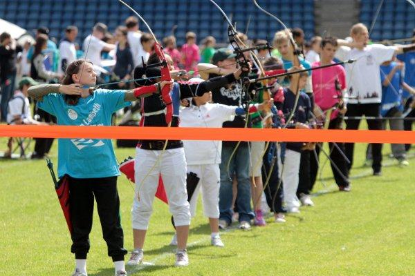 Taking aim: Archers take centre stage at the Crystal Palace National Sports Centre last week