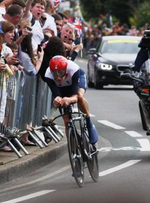 Gold winner Bradley Wiggins on the Portsmouth Road. Pic by Ian Appleford