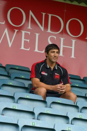 Unfinished business: Gavin Henson in the stands at London Welsh. The summer signing will not make his debut this weekend, though, after suffering an injury