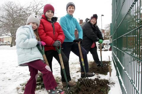Hard work: Frozen ground did not deter the workers