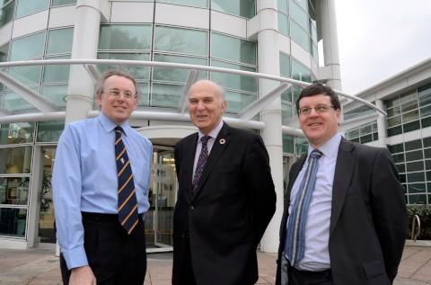 Groundbreaking: Robert Gunn, Vince Cable MP and Martin Sene outside the National Physcial Laboratory