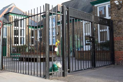 Tribute: Flowers at the school gate