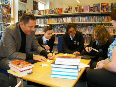 Funny guy: David Walliams with pupils