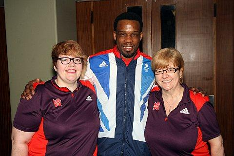 Golden boy: Winston Gordon pictured with Olympic volunteers Jayne Mitchell and Liz Gibson at the recent Wandsworth Sport Awards