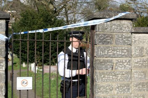 Police cordoned off St James's Church yard