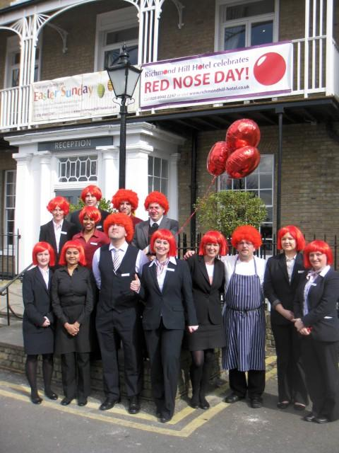 Red nose fun: Staff at Richmond Hill Hotel