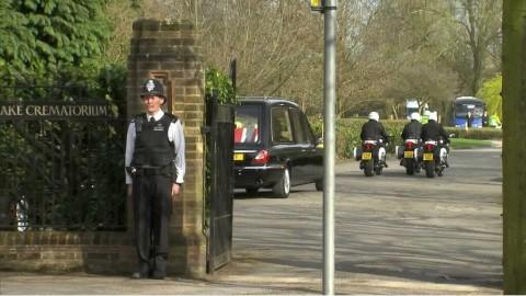 Final glance: Margaret Thatcher's hearse arrived at Mortlake at 4.30pm. Photo: Sky News