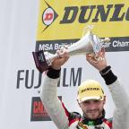 Podium pride: Onslow-Cole took third in race one at Thruxton to take his place on the podium    Picture: Gary Brind