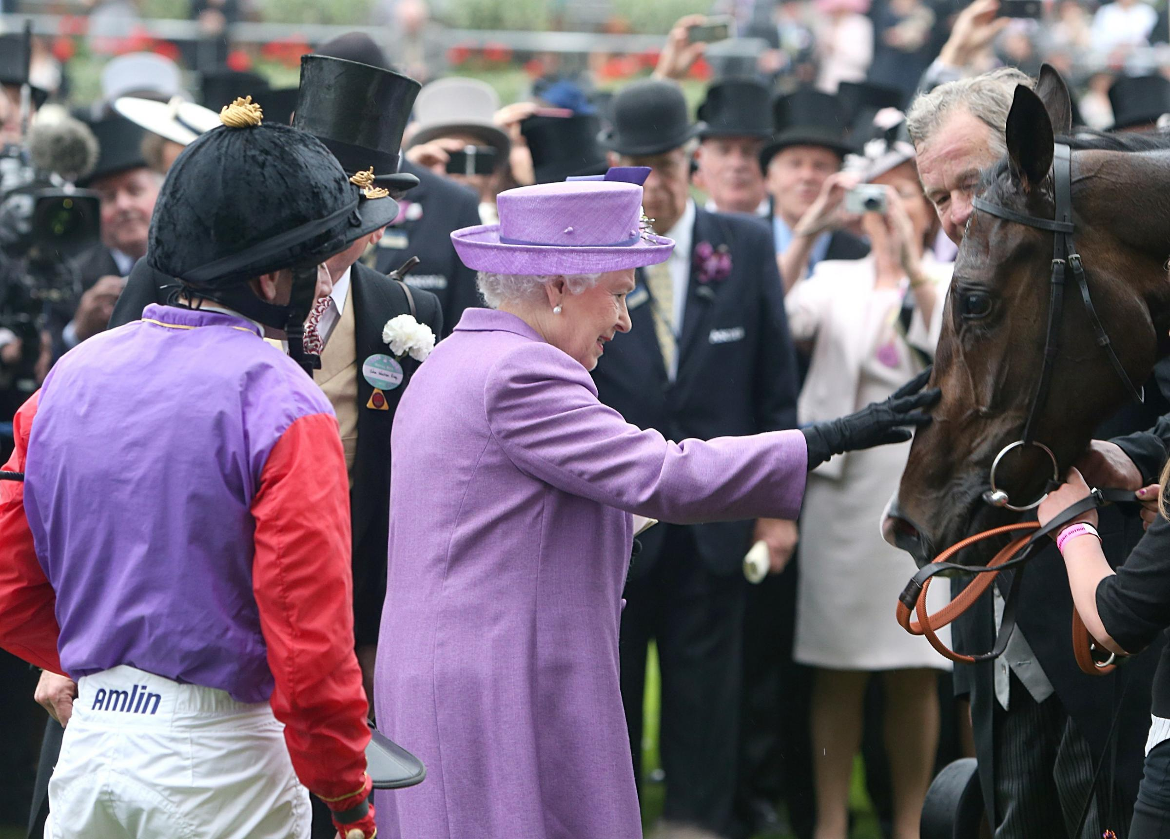 Queen Elizabeth II pats her horse Estimate after it won the 2013 Gold Cup ridden by jockey Ryan Moore