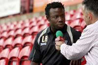Buzzing Bees: Brentford boss Leroy Rosenior at the club's media launch at Griffin Park on Tuesday. Deadlinepix Hakan Yazici HY0701
