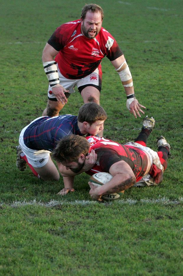 Richmond and Twickenham Times: Going over: London Welsh's Nathan Morris scores the match winning try