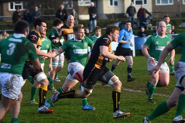 Richmond and Twickenham Times: Break away: Michael Macfarlane makes a dash for it but his try could not inspire Esher to victory