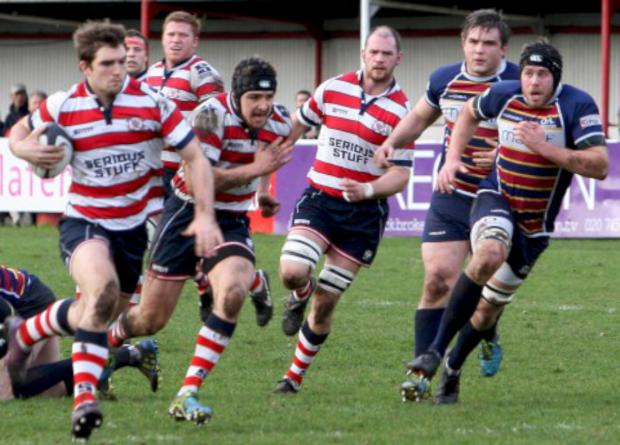 Richmond and Twickenham Times: On the attack: Rosslyn Park pour forward during Saturday's 37-13 win over Old Albanians