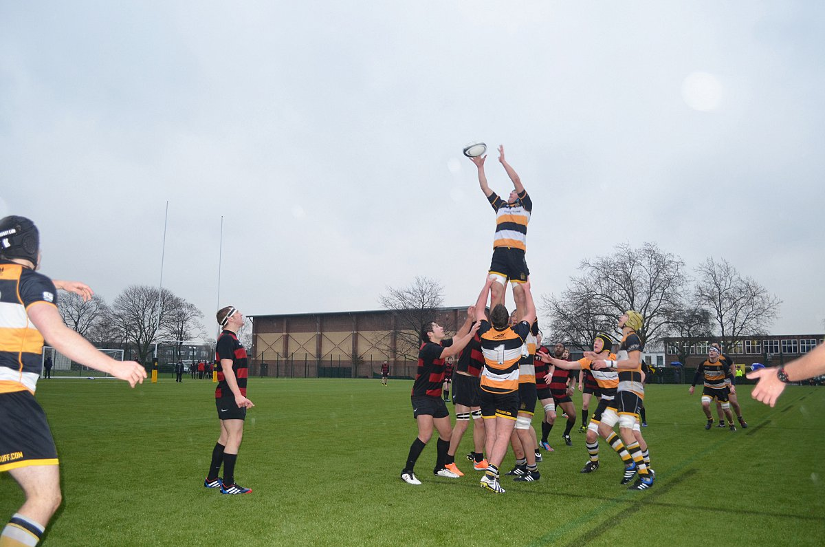 Flying high: Hampton School's lineout worked to perfection in wet conditions on Wednesday