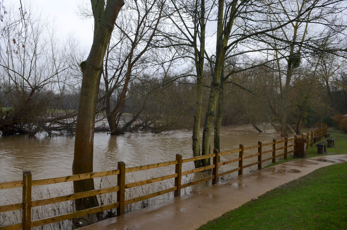 Earlier flooding: The River Mole has burst its banks several times in recent weeks