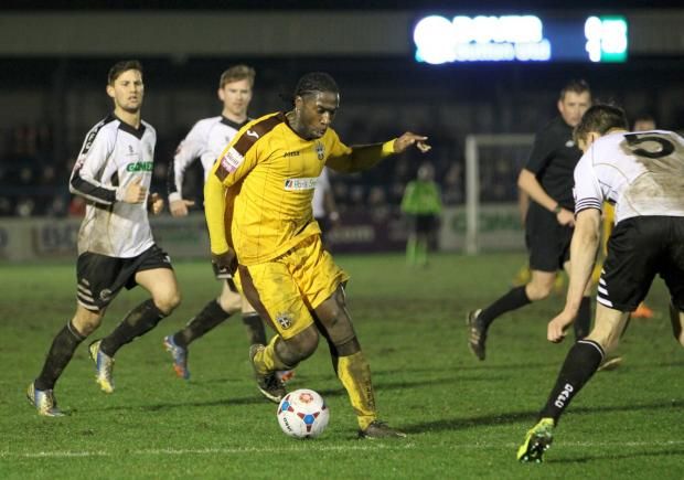 Hero: Craig Dundas grabbed the winner for Sutton United at Dover Athletic on Tuesday night          Picture: Paul Loughlin