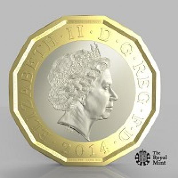 Richmond and Twickenham Times: One side of a new one-pound coin unveiled by the Government, which officials said will be the most secure coin in circulation in the world (PA/HM Treasury)